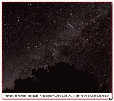 Метеор из звездопада Персеиды пересекает Млечный Путь