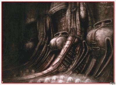 Коридор корабля в исполнении Гигера из фильма Чужой