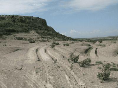 Окаменевшие следы во Фригийской долине в Турции
