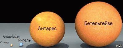 Соотношение размера Солнца к другим звездам