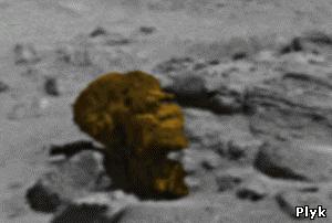 голова из камня обезьяны на фото с Марса