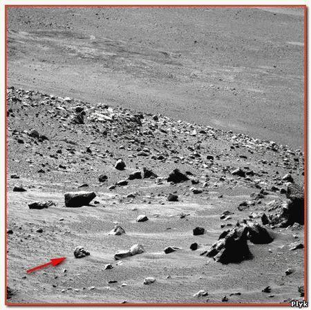 Череп в песке на фото с Марса хорошо видны глазницы и выемка носа. Череп на фото блестит как кость