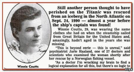 На изображении фотография пассажирке Титаника Винни Коутс