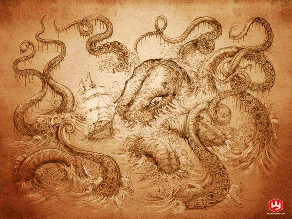 Морское чудовище кракен 3